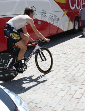 Topsport Vlaanderen's Jelle Wallays testing the ETT at the Tour of Belgium in late May