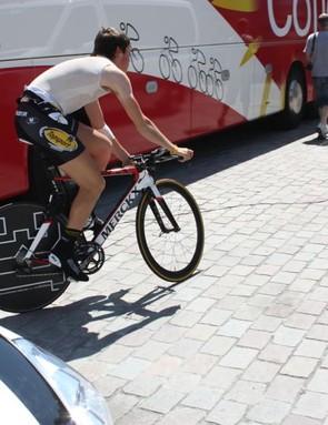 Topsport Vlaanderen's Jelle Wallays testing the ETT at the Tour of Belgium in late May
