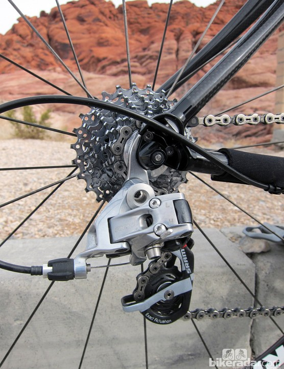 Ritchey include a replaceable derailleur hanger on the frame, and it's a good idea to pack an extra one in the case