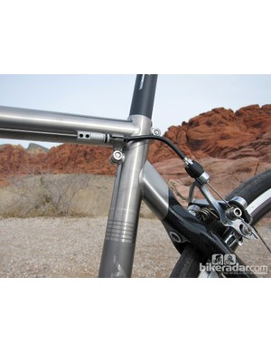 We would have preferred Ritchey to use a more conventionally located rear brake housing stop instead of the setup pictured here