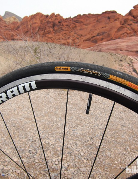 We started with 23mm tires but settled on 25s for their greater cushioning on unfamiliar roads