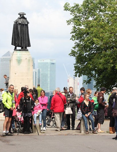 A crowd waits at the Meridian in Greenwich for Mike Hall to finish