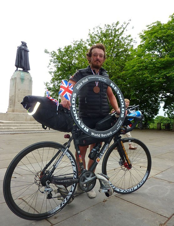 Mike with his bike and carbon trophy, courtesy of Reynolds