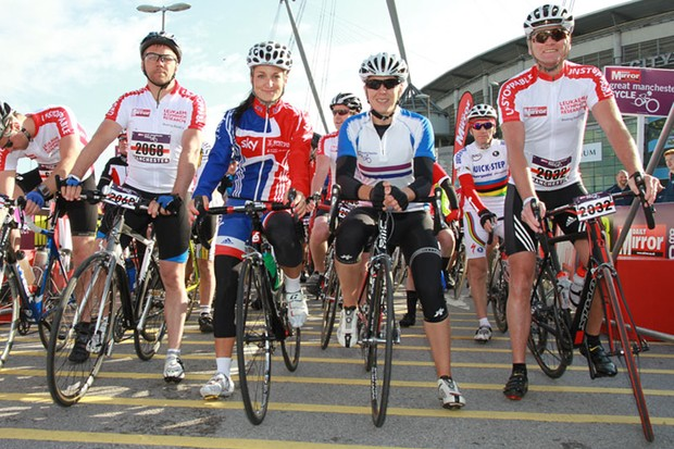 Dean Andrews (Ashes to Ashes actor), cyclists Lizzie Armitstead, Rebecca Romero and former England footballer Geoff Thomas helped start the Daily Mirror Great Manchester Cycle