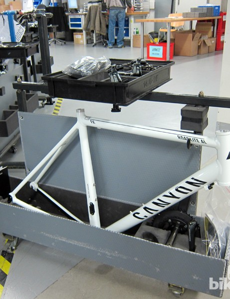 The carts easily fit every configuration of bike that Canyon sell