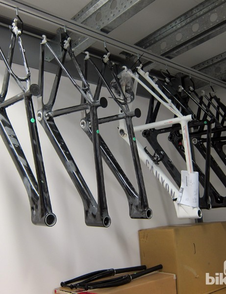 Production frames await their turn in the CT machine