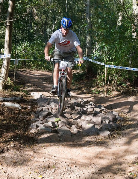 The show features a mountain bike demo track