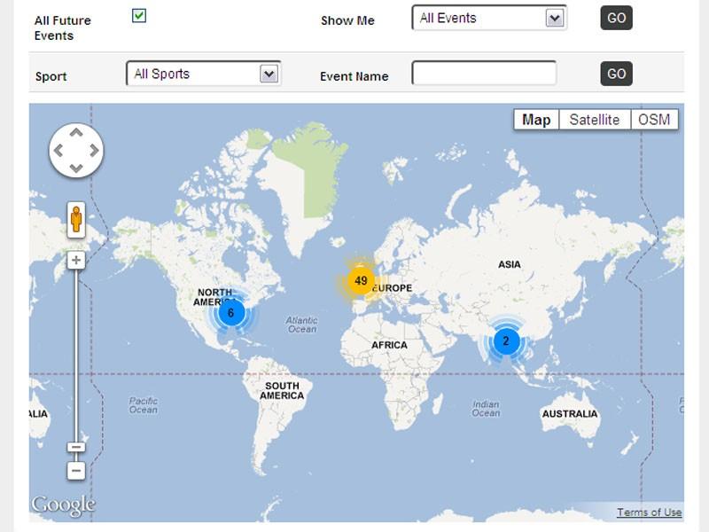 Events map on BikeRadar Training
