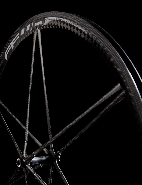 The FFWD Ghost tubular wheelset features 12 spokes on each wheel, with six on each side