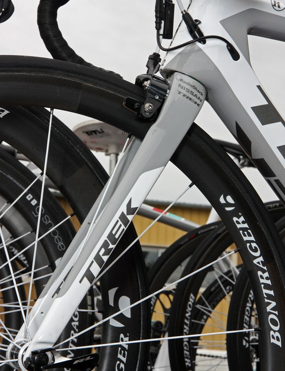 The roughly straight-bladed fork on the new Trek Madone features a slight cut-out for the front brake