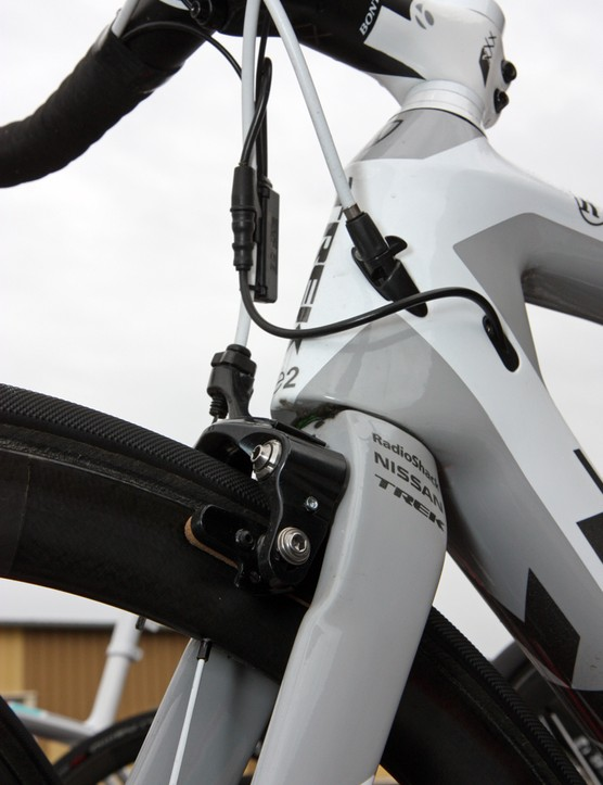 Trek will again build a tapered head tube into the next-generation Madone but with a presumably more aero shape this time around and a curious stepped interface between the bottom of the head tube and the fork crown. Updated internal cable routing incorporates a barrel adjuster for the rear brake
