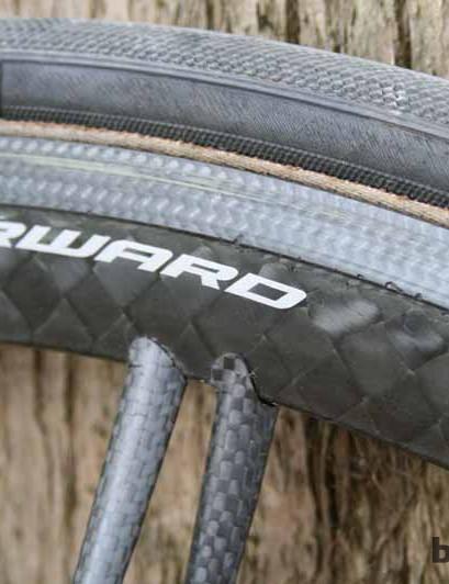 The FFWD Ghost tubular wheelset has an all-carbon rim construction
