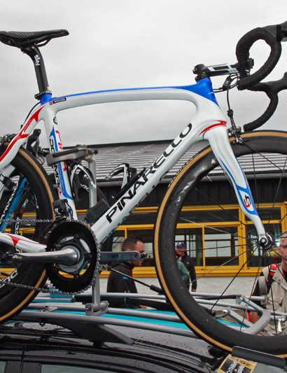 Bradley Wiggins' (Team Sky) spare Pinarello Dogma 2 was covered in red, white, and blue to celebrate his British roots