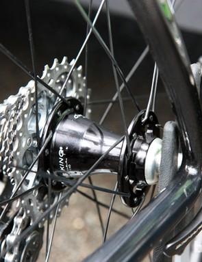 Bradley Wiggins' (Team Sky) rear wheel was laced in a two-cross pattern with a Chris King hub