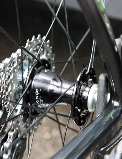 Bradley Wiggins' (Team Sky) rear wheel was laced in a two-cross pattern with a Chris King hub