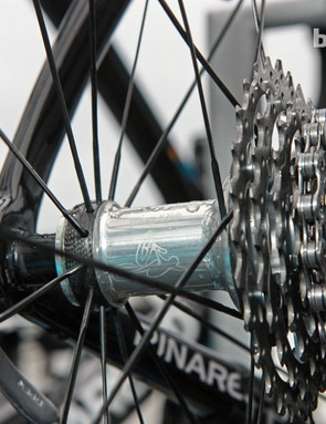 Bradley Wiggins' (Team Sky) Tune Mag 150 rear hub is ultralight at a claimed 150g thanks in part to a carbon fiber-reinforced non-driveside spoke flange and carbon fiber axle