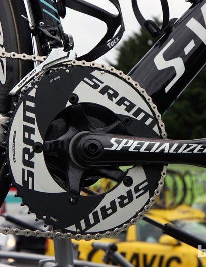 SRAM TT rings mounted on a Specialized FACT carbon fiber crankset for Omega Pharma-QuickStep's Tony Martin