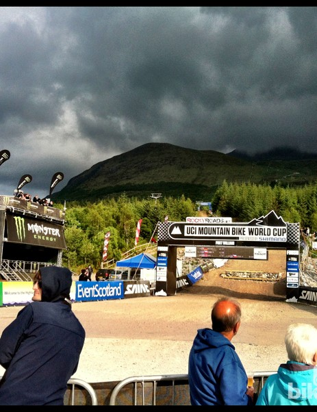 Dark clouds and bright sunshine has been on the menu so far at Fort William