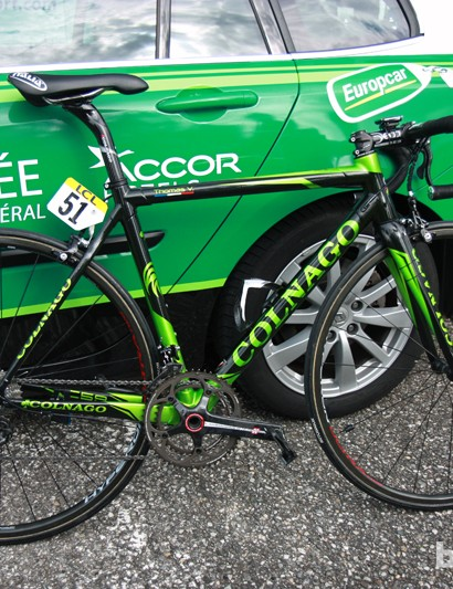 Thomas Voeckler's (Europcar) Colnago C59 Italia just before the start of Stage 6