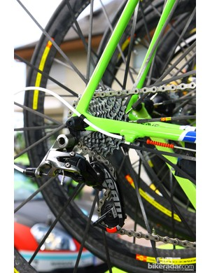 Four little o-rings protect the paint on Vincenzo Nibali's (Liquigas-Cannondale) Cannondale Super Six Evo