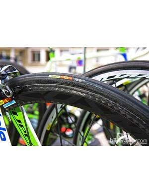 Mavic Yksion Grip Link tubulars are mounted on Mavic Cosmic Carbone Ultimate wheels on Vincenzo Nibali's (Liquigas-Cannondale) Cannondale Super Six Evo