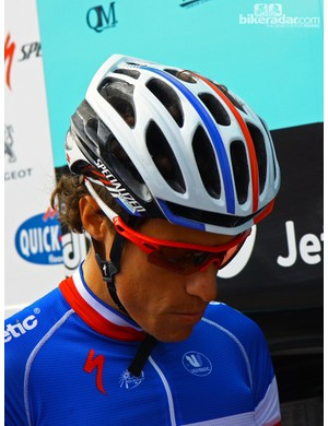 Even Sylvain Chavanel's (Omega Pharma-QuickStep) Specialized S-Works Prevail helmet and Oakley Radar sunglasses adhere to the white, blue, and red theme