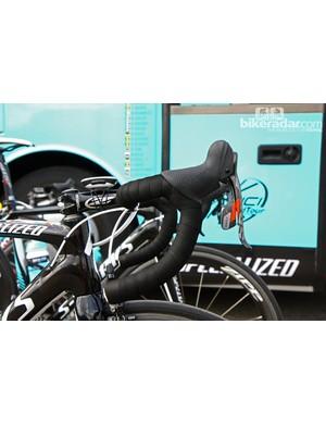 Omega Pharma-QuickStep rider Tony Martin runs an unusual tilt on his Zipp Service Course SL bars