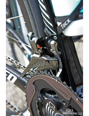 SRAM has slickly integrated a chain catcher on the latest Red front derailleur, as pictured here on Tony Martin's (Omega Pharma-QuickStep) Specialized S-Works Tarmac SL4