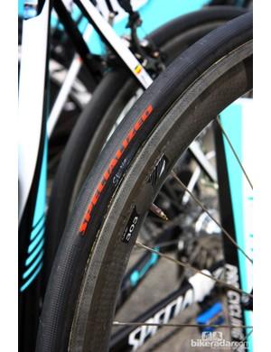 Specialized's new tubulars are glued to Zipp 303 rims on Tony Martin's (Omega Pharma-QuickStep) Specialized S-Works Tarmac SL4