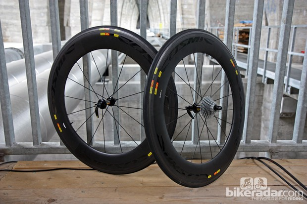After already being raced for about a year under the Garmin-Barracuda team, Mavic finally announced the release of the new Cosmic CXR 80 aero wheels. According to Mavic's testing at the wind tunnel in Geneva - which we were on hand to witness - the new Cosmic CXR 80s produce substantially lower drag than Zipp's 808 Firecrest