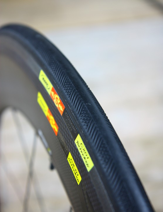 The tread on the new Mavic Yksion CXR tires are said to improve air's ability to 'stick' to the surface and then smoothly transition back along the rim
