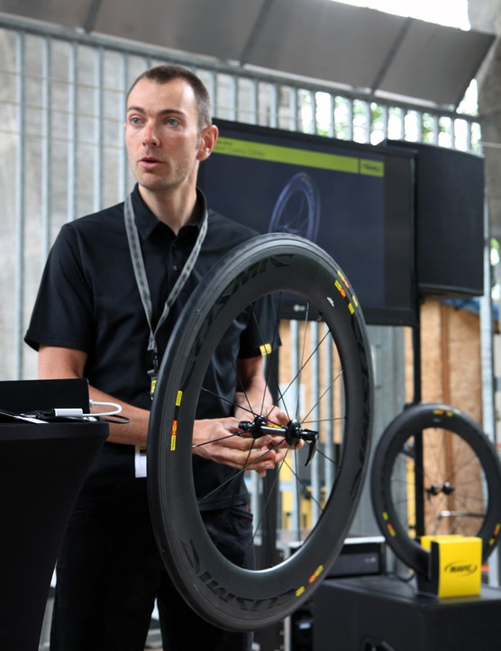 Mavic product manager Maxime Brunard presents the new Cosmic CXR 80 wheels