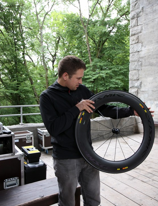 Garmin-Barracuda sports scientist Robby Ketchell worked with Mavic to help develop the new Cosmic CXR 80. Team riders have been testing the new wheels for about a year