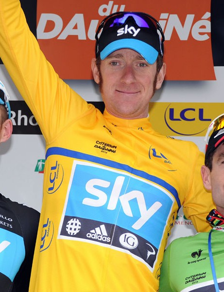 The Dauphine odium: Michael Rogers (2nd), Brad Wiggins (1st) and Cadel Evans (3rd)