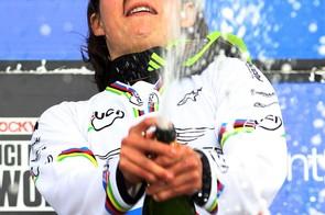 A very happy Emmeline Ragot on the podium