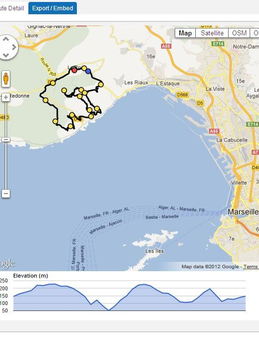 Jupapy mapped a 14.7-mile mountain bike loop that winds its way around the Mediterranean coastline