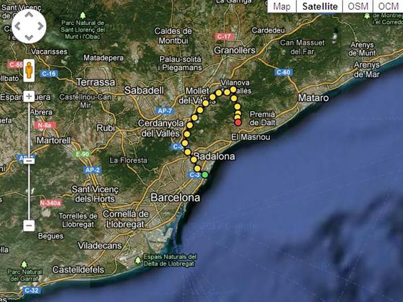The 'Besos-Alella-TT' route from Barcelona, uploaded by AlunAlun