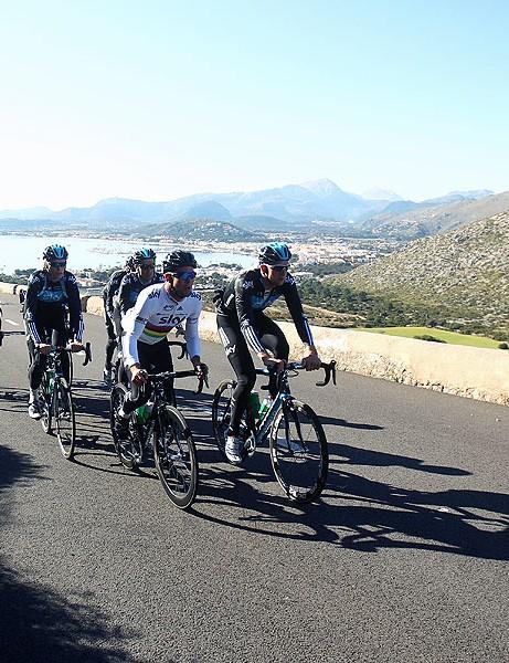 Team Sky on a mountain climb out of Port de Pollenca this winter