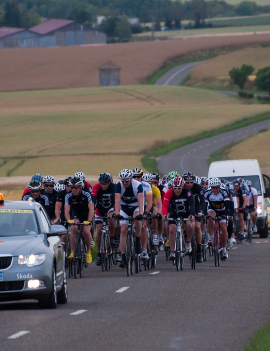 The 750 riders are split into smaller groups based on ability