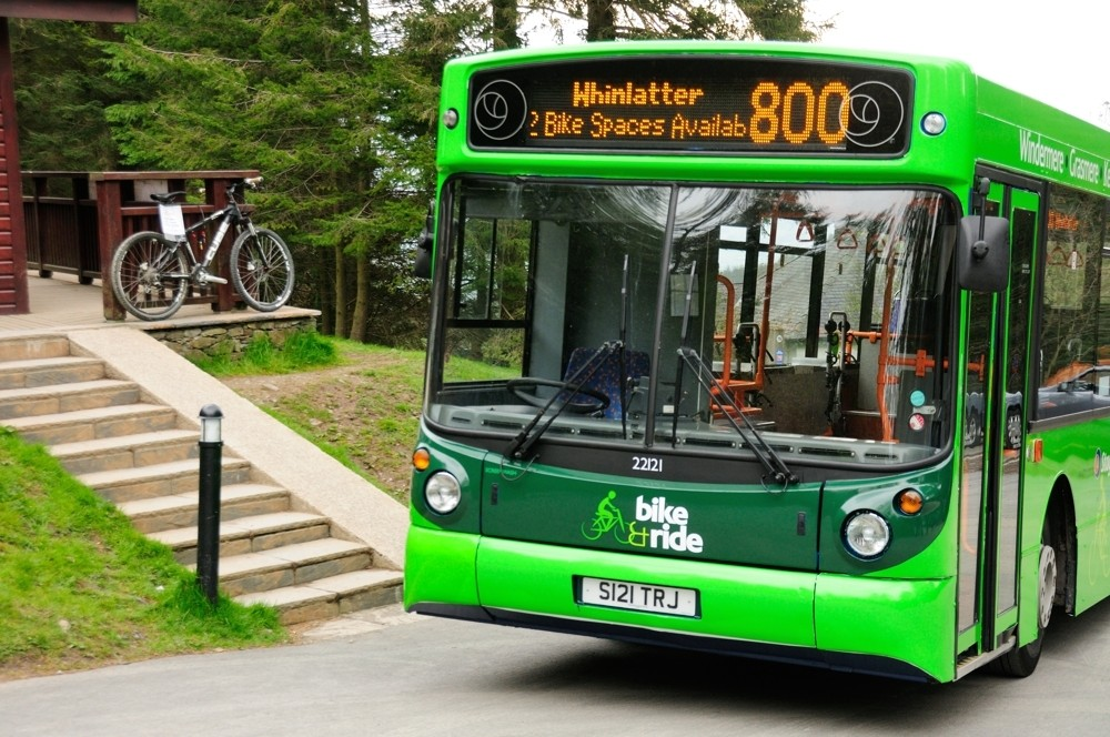 The 'bike bus' can carry up to 12 bikes and riders and runs from Windermere station