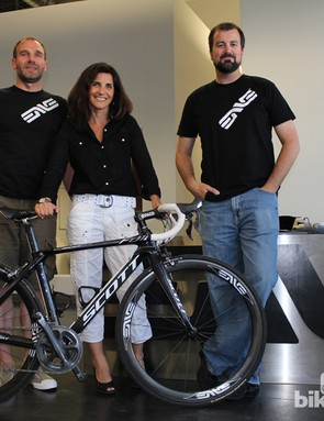 Aerodynamicist Simon Smart, ENVE CEO Sarah Lehman and company founder Jason Schiers are driving forces behind the brand
