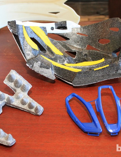 The components of the Maraka — from left to right: Composite Fusion Plus Cone Head technology, the yellow cross-link polymer Bumper Fit padding and the SuperVent plastic reinforcements