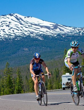 Riders in front of the Cascade Range, just outside Bend, Oregon