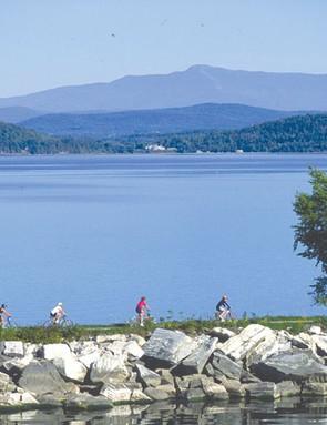 Riders along Lake Champlain in Burlington