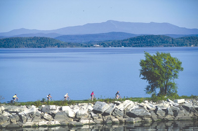 Riders along Lake Champlain in Burlington