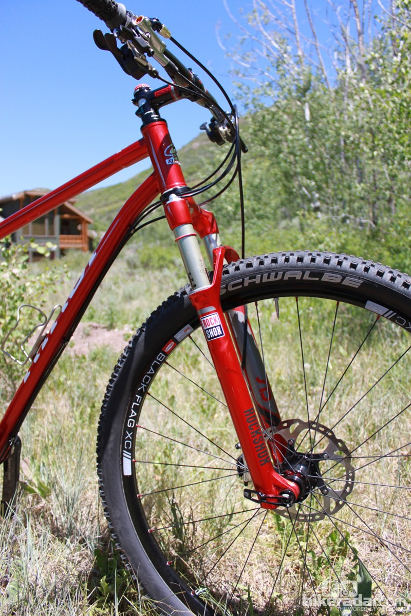 The Tamale Red bike comes with the option of a color-matched RockShox