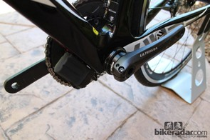 The Di2 battery bolts to the down tube on the Fenix