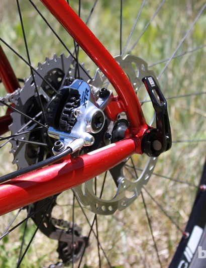 Niner use small 'bullet' bosses welded to the stays to mount the rear brake – the chainstay-mounted bullet requires a miter in the tube