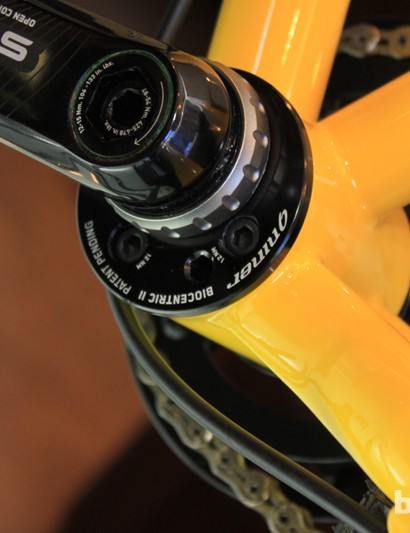 The 55mm bottom bracket shell accepts a multitude of CYA bottom bracket adaptors from Niner