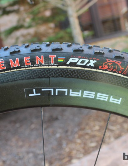Reynolds' Carbon Assault tubulars are mounted with Clement PDX tires on the X-Night